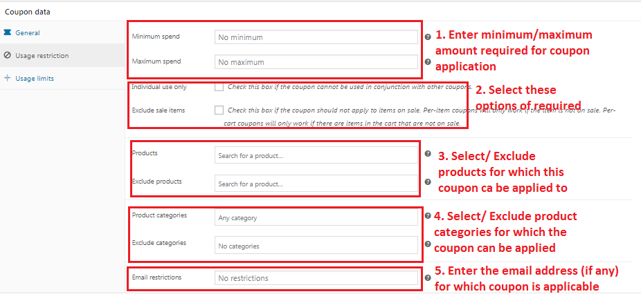 Woocommerce Usage Restriction For Coupons