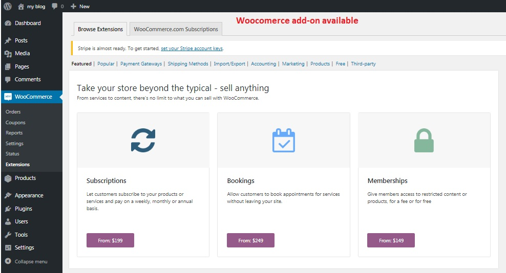 Woocommerce add-ons