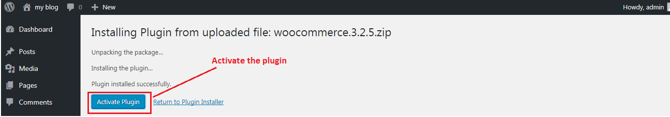 Activating Woocommerce Plugin